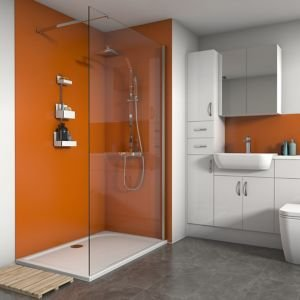 Splashwall Matt Pumpkin 3 Sided Shower Panel Kit (l)1200mm (w)1200mm (t)4mm