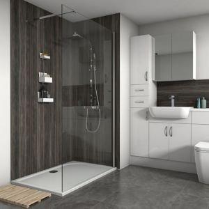 Splashwall Matt Stained Pine Shower Panel (h)2420mm (w)600mm (t)11mm