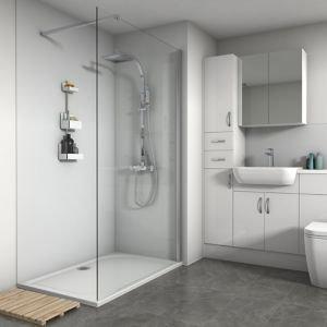 Splashwall Matt White 3 Sided Shower Panel Kit (l)1200mm (w)1200mm (t)4mm