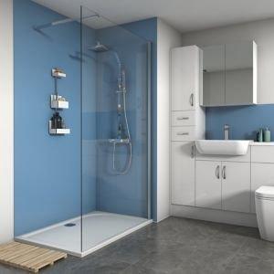 Splashwall Matt Sky 3 Sided Shower Panel Kit (l)1200mm (w)1200mm (t)4mm