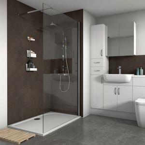 Splashwall Textured Copper Oxide 3 Sided Shower Panel Kit (w)1200mm (t)11mm