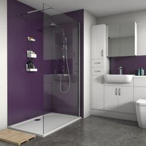 Splashwall Matt Violet 3 Sided Shower Panel Kit (l)1200mm (w)1200mm (t)4mm