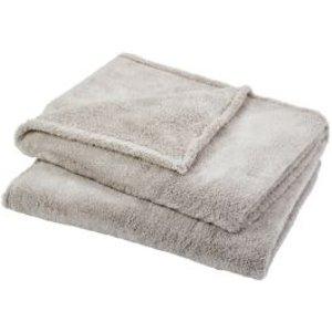 GoodHome Takeo Beige Plain Fleece Throw