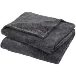 GoodHome Takeo Grey Plain Fleece Throw