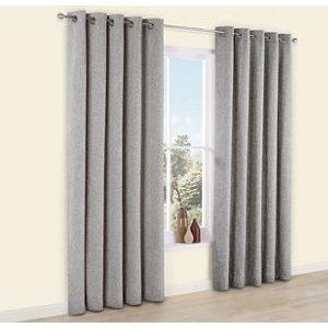 Thornbury Grey Lined Eyelet Curtains (w)228cm (l)228cm  Pair