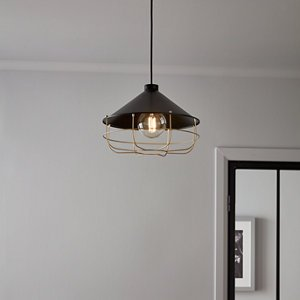 Goodhome Yondair Matt Black Brass Effect Pendant Ceiling Light  (dia)320mm