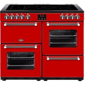 Belling Kensington 100e Electric Ceramic Range Cooker - Red & Chrome, Red, Red