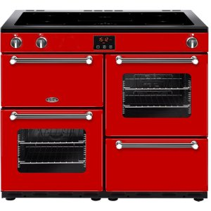 Belling Kensington 100ei Electric Induction Range Cooker - Red & Chrome, Red, Red