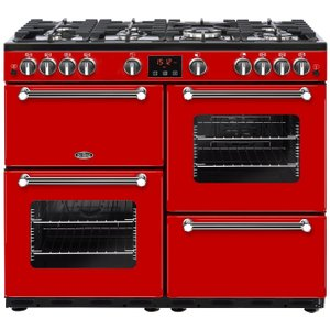 Belling Kensington 100g Gas Range Cooker - Red & Chrome, Red, Red