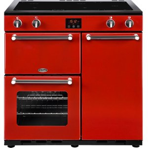 Belling Kensington 90 Cm Electric Induction Range Cooker - Red & Chrome, Red 10152264, Red
