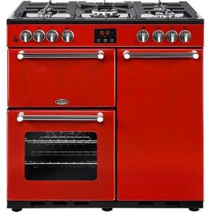 Belling Kensington 90dft Dual Fuel Range Cooker - Red & Chrome, Red, Red