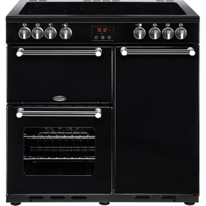 Belling Kensington 90e Electric Ceramic Range Cooker - Black & Chrome, Black, Black