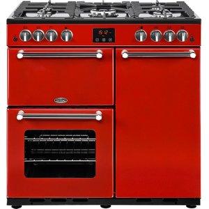 Belling Kensington 90g Gas Range Cooker - Red & Chrome, Red, Red