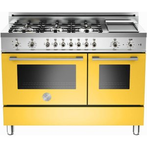 Bertazzoni Professional 122 Dual Fuel Range Cooker - Yellow & Stainless Steel, Stainless S 10025160, Stainless Steel