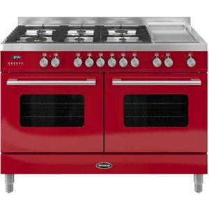Britannia Delphi 120 Dual Fuel Range Cooker - Gloss Red, Red 10026009, Red