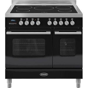 Britannia Delphi 90 Rc9tidek Electric Induction Range Cooker - Gloss Black & Stainless Ste Stainless Steel, Stainless Steel
