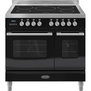 Britannia Delphi 90 Rc9tidek Electric Induction Range Cooker - Gloss Black & Stainless Steel, Stain, Stainless Steel