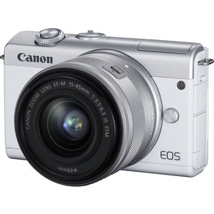 Canon Eos M200 Mirrorless Camera With Ef-m 15-45 Mm F/3.5-6.3 Is Stm Lens - White, White, White
