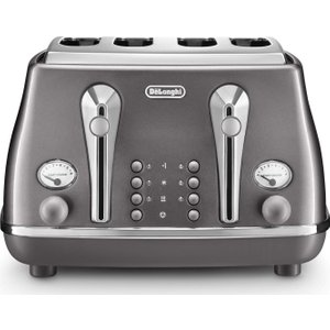 Delonghi Icona Metallics Ctot4003.gy 4-slice Toaster - Grey, Grey, Grey