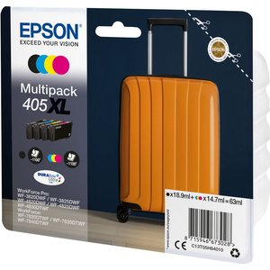 Epson Suitcase 405 Xl Cyan, Magenta, Yellow & Black Ink Cartridges - Multipack, Cyan 10230304, Cyan