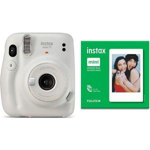 Instax Mini 11 Instant Camera & 50 Shot Mini Film Pack Bundle - Ice White, White 10219585, White