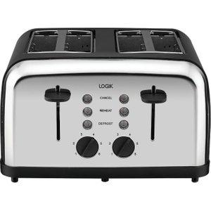 Logik L04tbk14 4-slice Toaster - Black & Silver, Black, Black