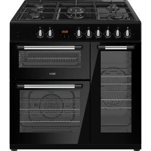 Logik Lrc90b21 90 Cm Dual Fuel Range Cooker - Black, Black, Black