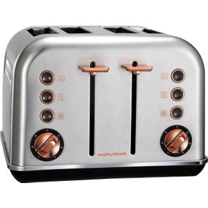 Morphy Richards Accents 102105 4-slice Toaster - Brushed Stainless Steel & Rose Gold, Stainless Stee 4Slice, Stainless Steel
