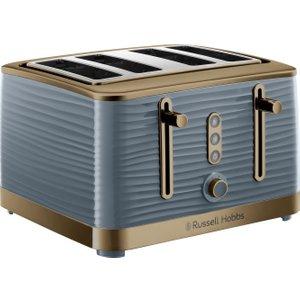 Russell Hobbs Inspire Luxe 24387 4-slice Toaster - Grey & Brass, Grey 4slice, Grey