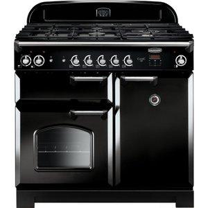 Rangemaster Cla100dffbl/c 90 Cm Dual Fuel Range Cooker - Black & Chrome, Black, Black