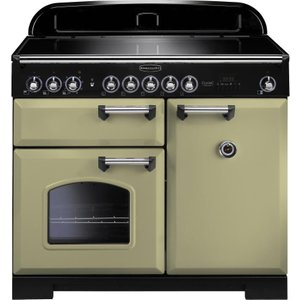 Rangemaster Classic Deluxe 100 Electric Induction Range Cooker - Olive Green & Chrome, Oli 21457192, Olive
