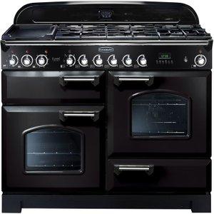 Rangemaster Classic Deluxe 110 Dual Fuel Range Cooker - Black & Chrome, Black 10154974, Black