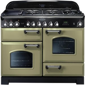 Rangemaster Classic Deluxe 110 Dual Fuel Range Cooker - Olive Green & Chrome, Olive 21487044, Olive