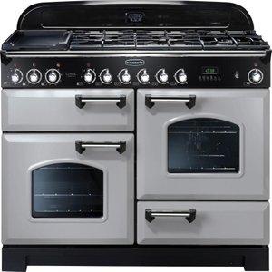 Rangemaster Classic Deluxe 110 Dual Fuel Range Cooker - Royal Pearl & Chrome  21576100