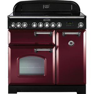 Rangemaster Classic Deluxe 90 Electric Induction Range Cooker - Cranberry & Chrome, Cranbe 21406550, Cranberry
