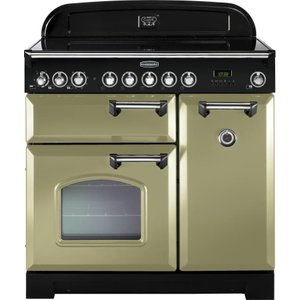 Rangemaster Classic Deluxe 90 Electric Induction Range Cooker - Olive Green & Chrome, Oliv 21406547, Olive
