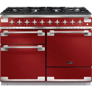 Rangemaster Elise 110 Dual Fuel Range Cooker - Cherry Red & Chrome, Red 21490068, Red