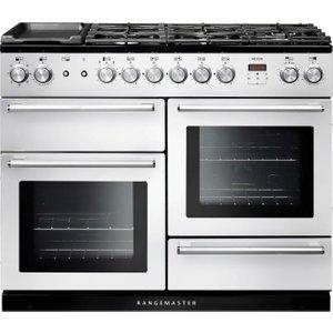 Rangemaster Nexus 110 Dual Fuel Range Cooker - White & Chrome, White 10116416, White