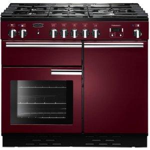 Rangemaster Professional 100 Dual Fuel Range Cooker - Cranberry & Chrome, Cranberry 21457135, Cranberry
