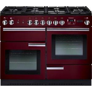 Rangemaster Professional 110 Dual Fuel Range Cooker - Cranberry & Chrome, Cranberry 21492810, Cranberry