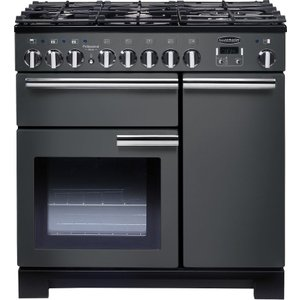 Rangemaster Professional Deluxe 90 Cm Dual Fuel Range Cooker - Slate & Chrome, Red 10191277, Red