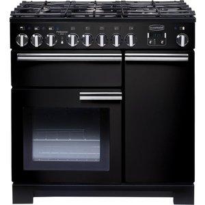 Rangemaster Professional Deluxe 90 Dual Fuel Range Cooker - Black & Chrome, Black 10189455, Black