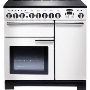 Rangemaster Professional Deluxe 90 Electric Induction Range Cooker - White & Chrome, White 21449830, White