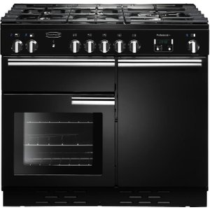 Rangemaster Professional Dual Fuel Range Cooker - Black & Chrome, Black 21457133, Black