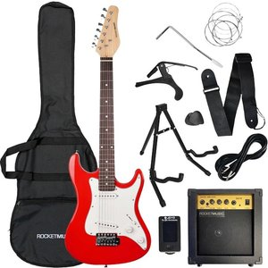 Rocket Xf 3/4 Size Electric Guitar Bundle - Red, Red, Red