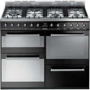 Smeg Syd4110bl 110 Cm Dual Fuel Range Cooker ? Black & Stainless Steel, Stainless Steel, Stainless Steel