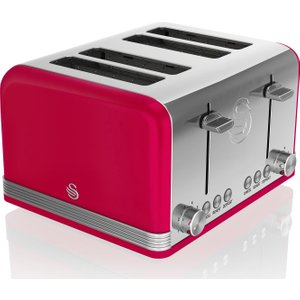 Swan Retro St19020rn 4-slice Toaster - Red, Red, Red