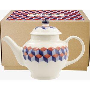 Red & Blue Tumbling Blocks 2 Mug Teapot Boxed 1TBK020100 Crockery