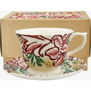 Red Stargazer Lily Large Teacup & Saucer Boxed 1RSG011622 Crockery