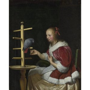 National Gallery Company A Woman In A Red Jacket Feeding A Parrot Ng840 Art